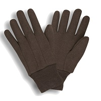 Brown Jersey Knit Gloves, 9oz., Unlined,Packed In Dozens