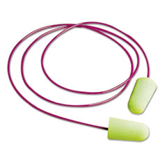 Pura-Fit Single-Use Earplugs, Corded, 33nrr, Bright Green,