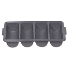 Cutlery Bin, 4 Compartments, Plastic, Gray