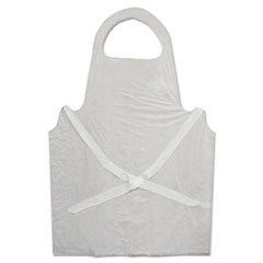 Disposable Apron, White, Poly, 28 X 45, 1.25 Mil, One