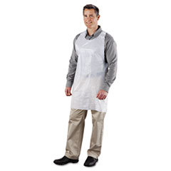Poly Apron, White, 24 In. W X 42 In. L, One Size Fits All,