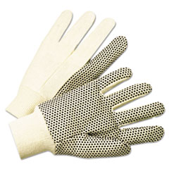 1000 Series Pvc Dotted Canvas Gloves, White/black, Large,