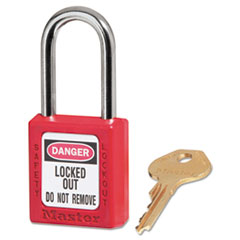 "Government Safety Lockout Padlock, Zenex, 1 1/2"", Red,"