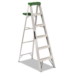 #428 Folding Aluminum Step Ladder, 6 Ft, 5-Step, Green