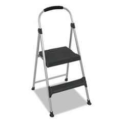 "Aluminum Step Stool, 2-Step, 225lb, 18 9/10"" Working"