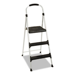 "Aluminum Step Stool, 3-Step, 225lb, 28 29/64"" Working"