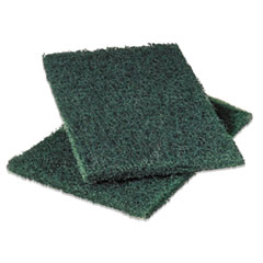 Commercial Heavy-Duty Scouring Pad, Green, 6 X 9,