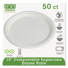 "Compostable Sugarcane Dinnerware, 10"" Plate,"