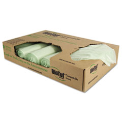 Biotuf Compostable Can Liners, 32 Gal, 1 Mil, 34 X