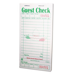 Guest Check Book, 3 1/2 X 6 7/10, Green/white, 50/book,