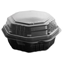 Octaview Hinged-Lid Hf Containers, Black/clear, 6.3