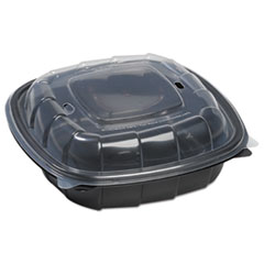 Breakaway Hinged Poly Food Containers, Black/clear, 38.9