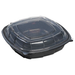 Breakaway Hinged Poly Food Containers, Black/clear, 50.7