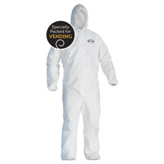 A40 Elastic-Cuff And Ankle Hooded Coveralls, White,