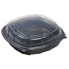 Breakaway Hinged Poly Food Containers, Black/clear,