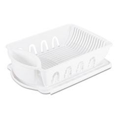2-Piece Drain Rack Sink Set, White, Plastic, 14 5/8 X 21 X