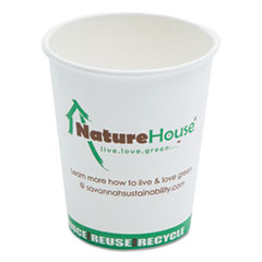 Compostable Live-Green Art Hot Cups, 8oz, White,