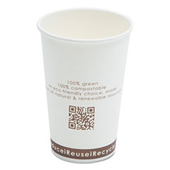 Compostable Live-Green Art Hot Cups, 16oz, White,