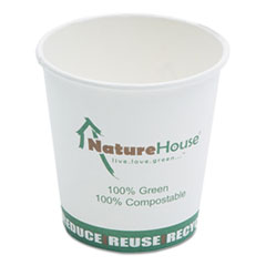 Compostable Live-Green Art Hot Cups, 10oz, White,