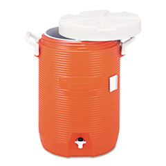 "Insulated Water Cooler, 5 Gal, Orange, 10""dia X 19"