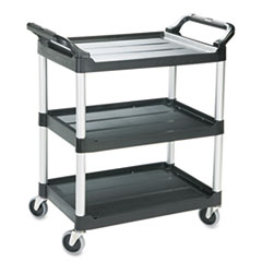 Economy Plastic Cart, Three-Shelf, 18-5/8w X