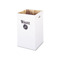 Corrugated Waste Receptacle, Square, 40gal, White,