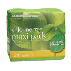 Chlorine Free Maxi Pads, 24/pack, 12 Packs/carton