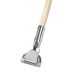 Clip-On Dust Mop Handle, Lacquered Wood, Swivel Head,
