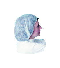 Polypropylene Bouffant Cap, White Color, 19-Inch Pleated